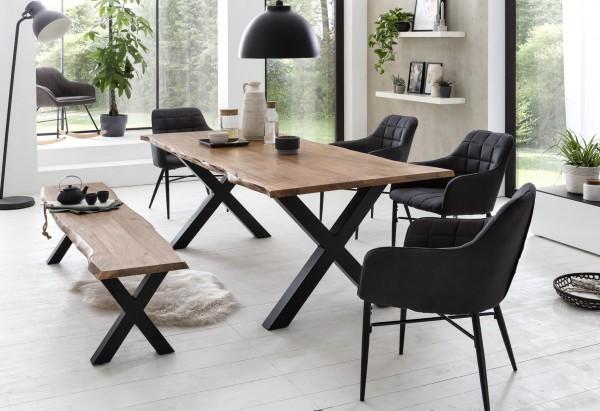 massiv-direkt Sitz-Bank 180 x 38 cm Akazie natur mit Baumkante (Manhattan 2.0) 800-180-15A